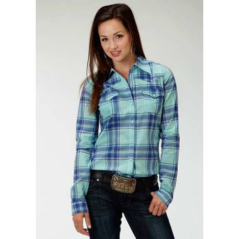 Roper Ladies Plus Size Fresh Plaid Long Sleeve Snap Shirt