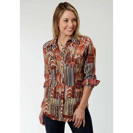 Roper Ladies Plus Size Spice Girl Western Long Sleeve Snap Shirt