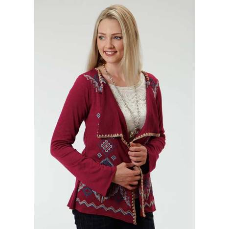 Roper Ladies Solid Sweater Jersey Cardigan