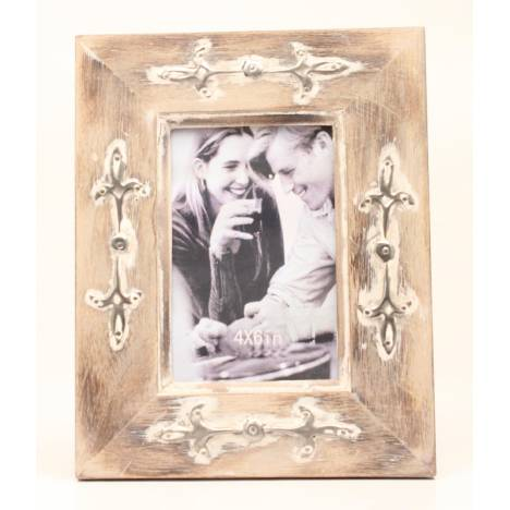 Western Moments Light Distressed Metal Accent Frame