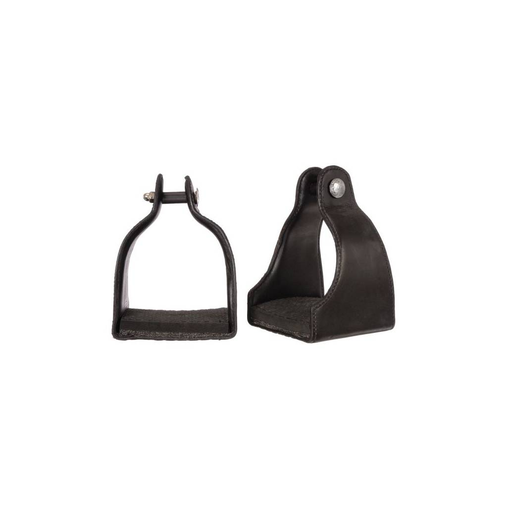 1'' Leather Covered Padded Endurance Stirrups with 4 1/2'' Tread