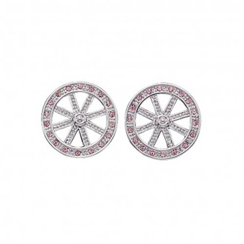 Montana Silversmiths Wagon Wheel with Pink Stones Earrings