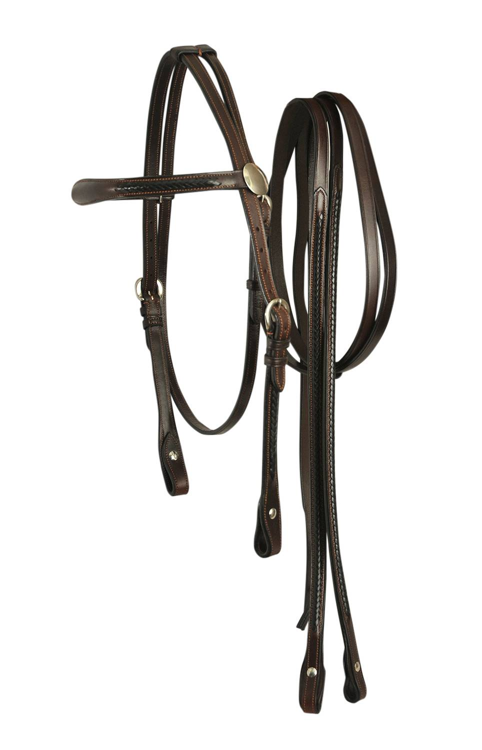 Bobby's Complete Braided Western Bridle With Side Adjustment And Matching Reins