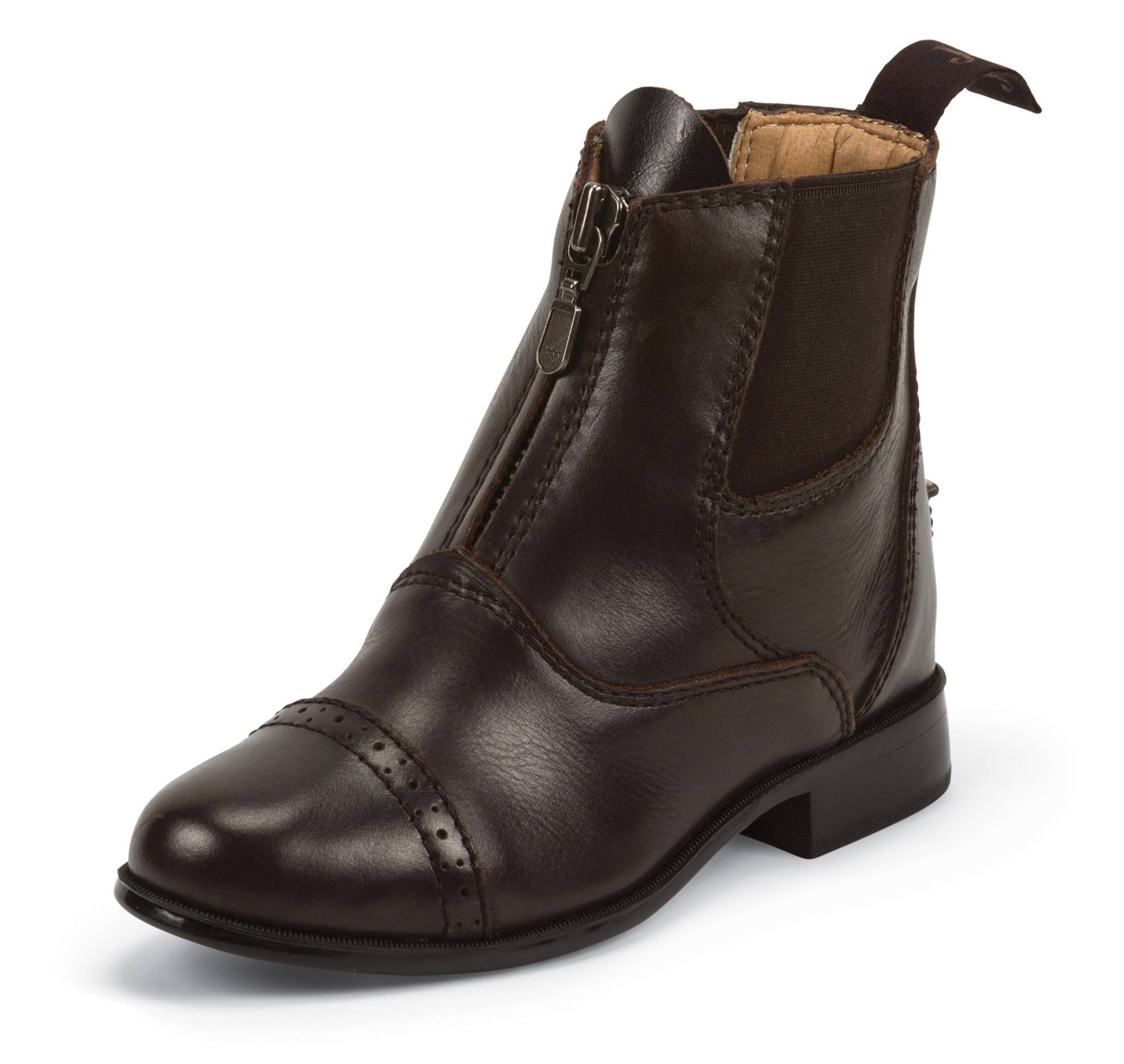 Justin Kids Zip Paddock Boots - Chocolate Brown