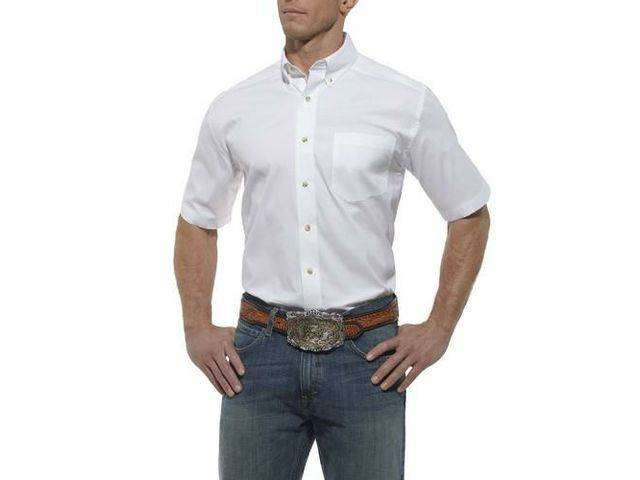 Ariat Men's Solid Performance Short Sleeve Poplin Shirt - White