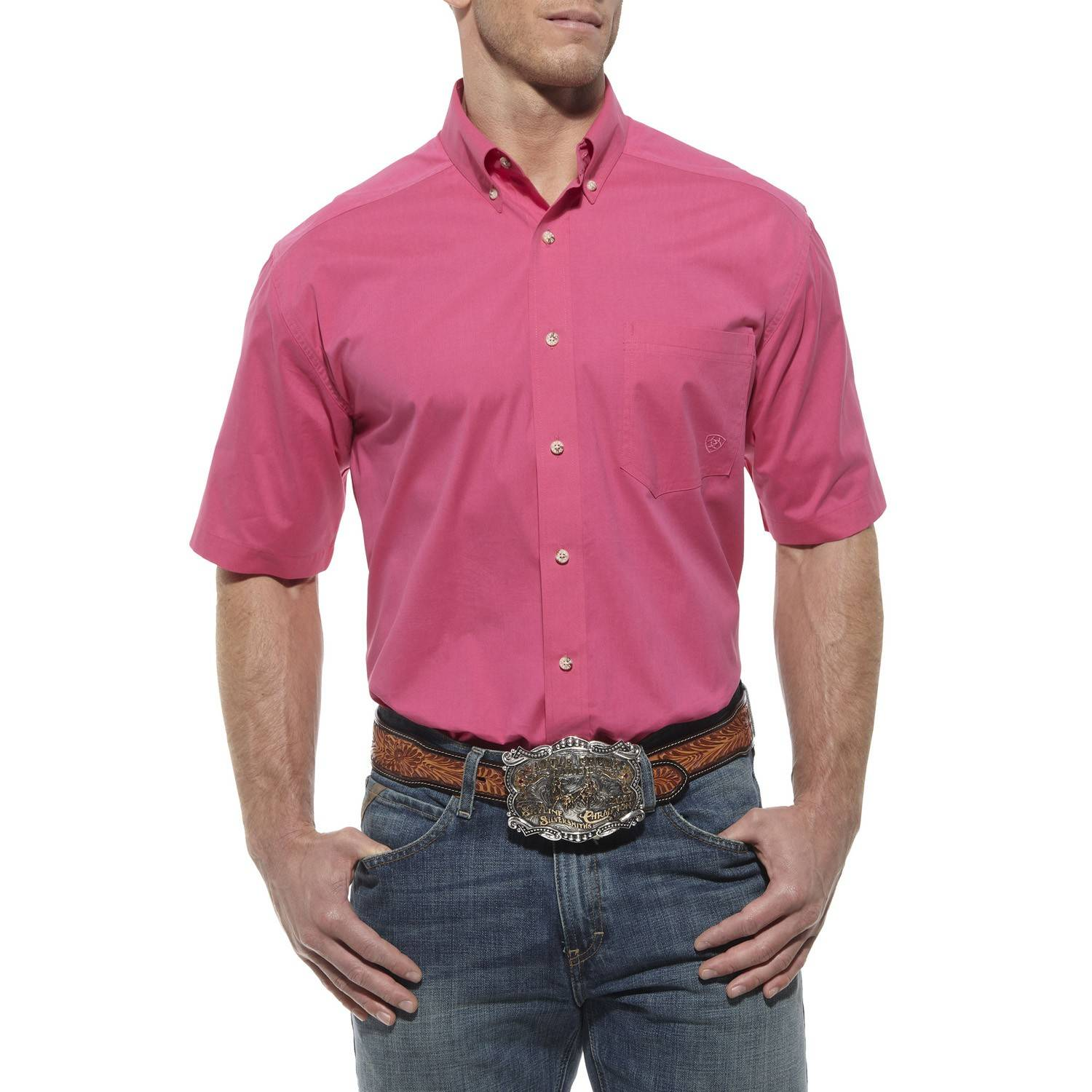 Ariat Men's Solid Performance Short Sleeve Poplin Shirt - Hot Pink