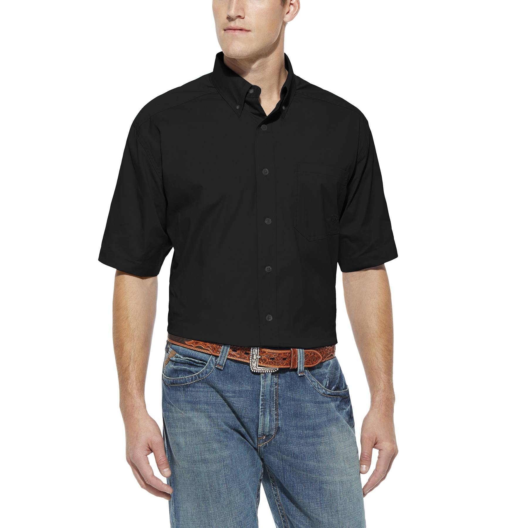 Ariat Men's Solid Poplin Short Sleeve Shirt - Black
