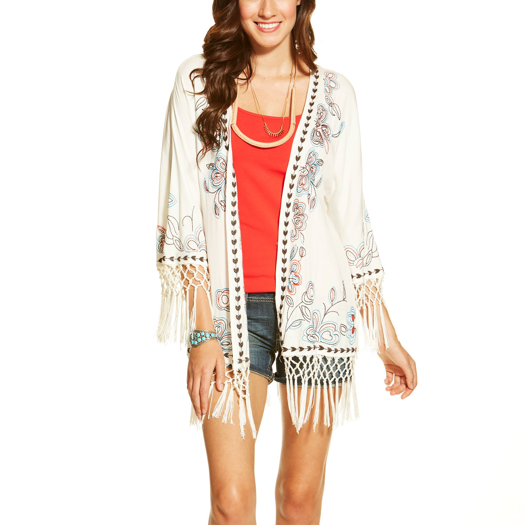 Ariat Ladies Bennett Kimono Top - Snow White