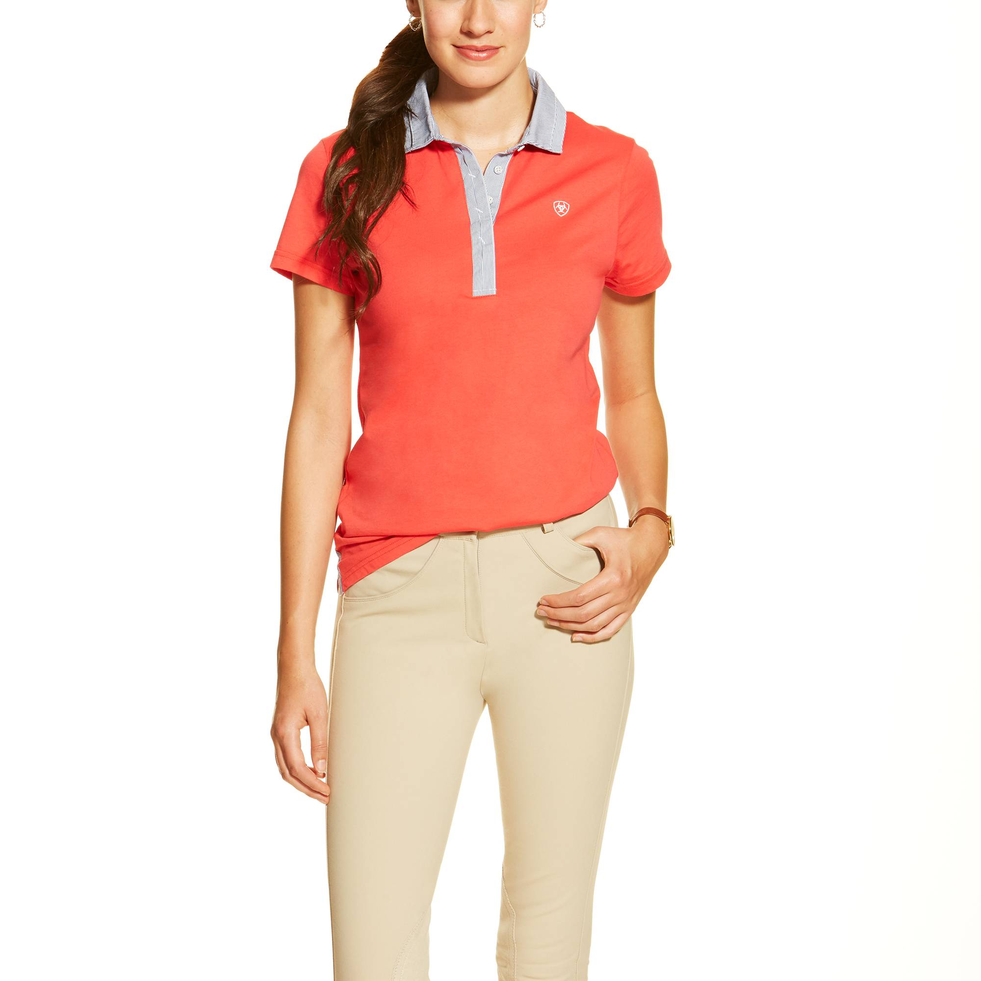 Ariat Ladies Caristo Jersey Polo - Flame