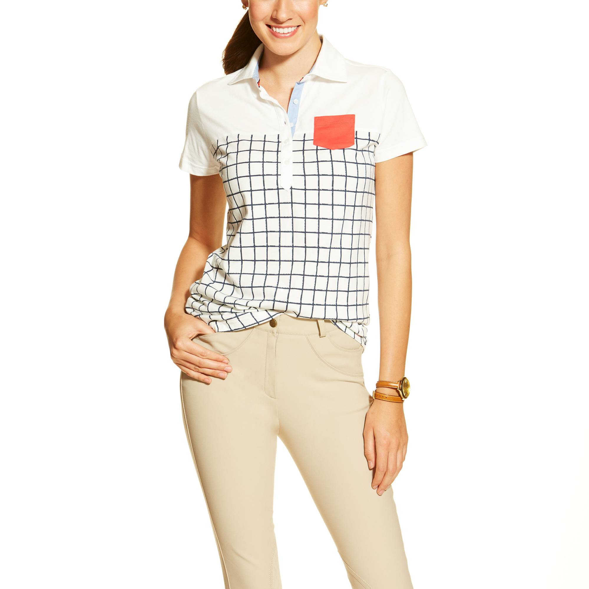 Ariat Ladies Twist Jersey Polo - Navy Check