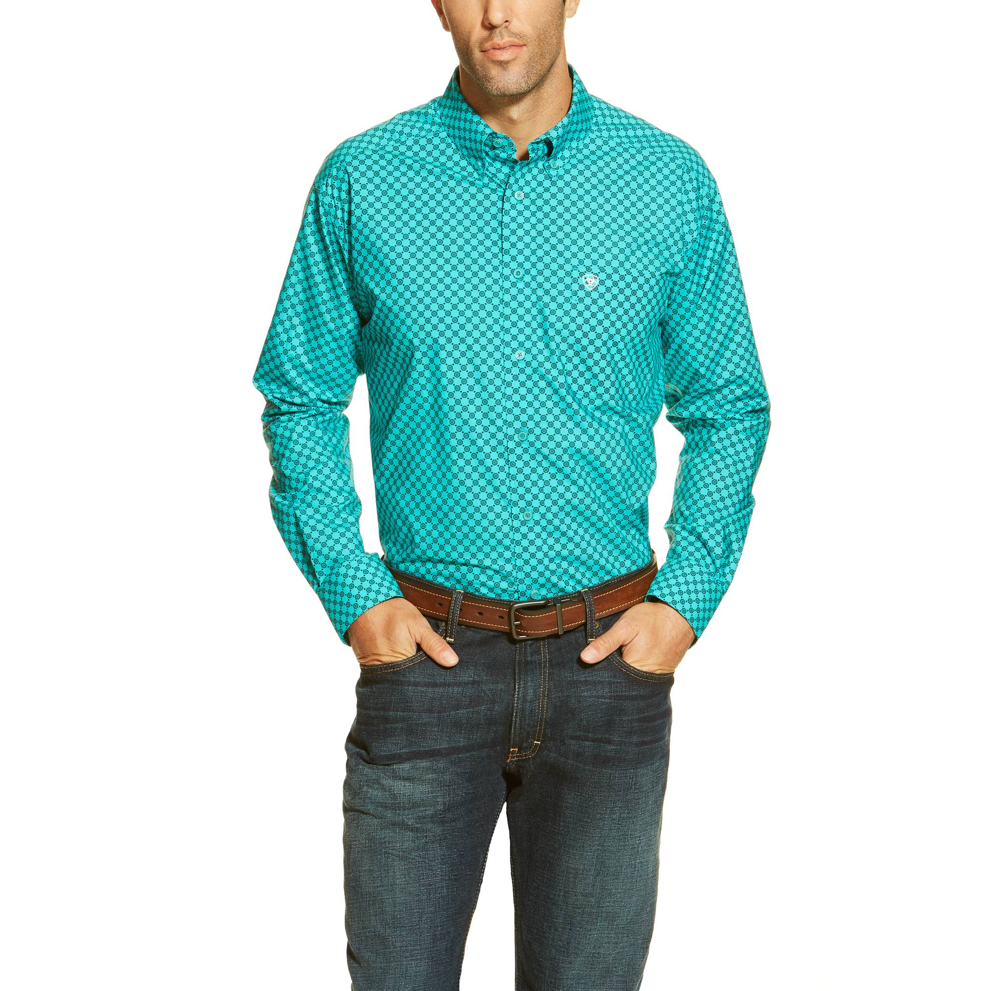 Ariat Men's Donnelly Print Shirt - Liquid Turquoise