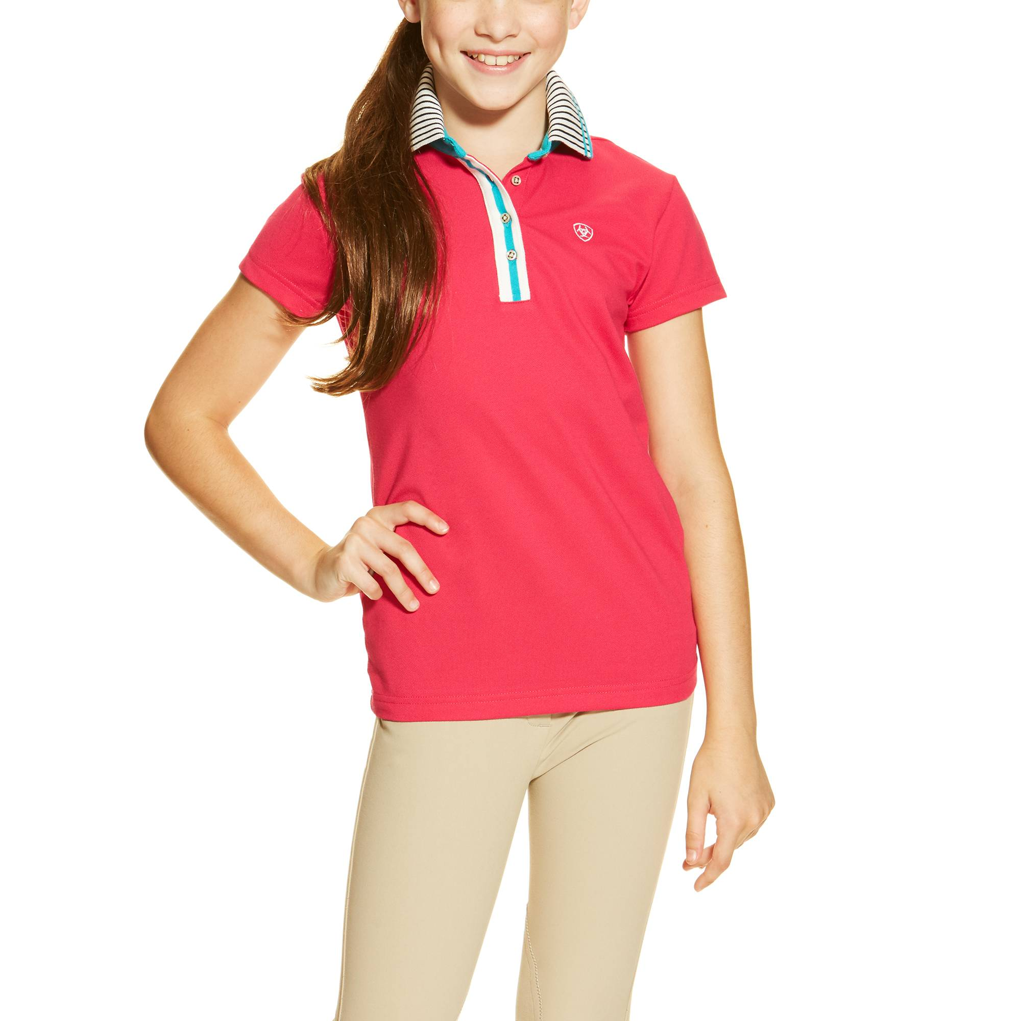 Ariat Girl's Fashion Pique Polo - Fuchsia
