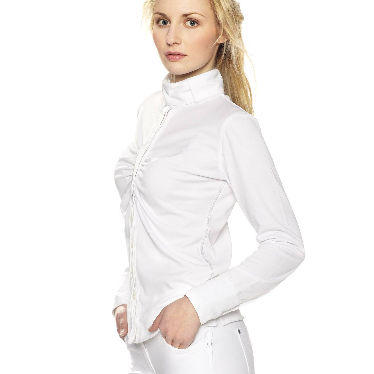 Gersemi Ladies Long Sleeve Button Competition Shirt - White