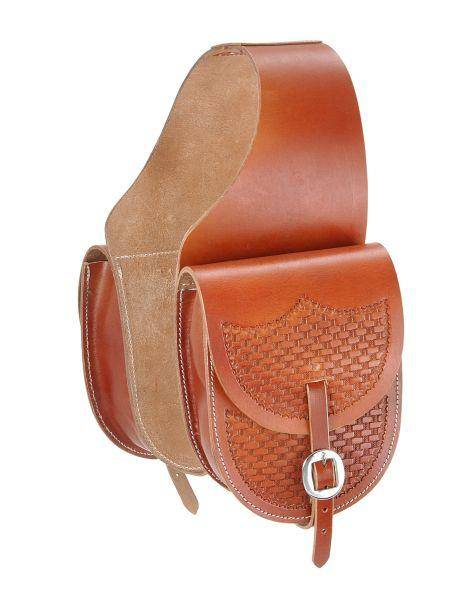 Tough-1 Leather Saddle Bag with Basket Stamp
