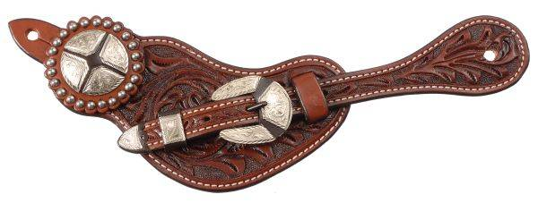 Premium Leather Floral Tooled Spur Straps with Quarters Hardware