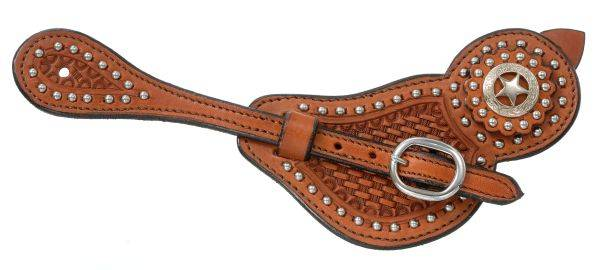 Royal King Men's Lined Cowhide Spur Straps with Basket Tooling & Dots