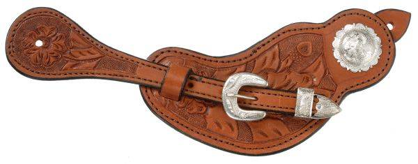Royal King Ladies Lined Cowhide Spur Straps with Floral Tooling