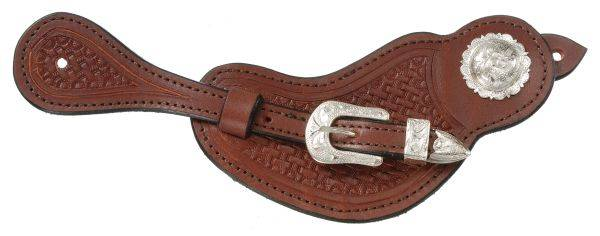 Royal King Ladies Lined Cowhide Spur Straps with Basket Stamp Tooling