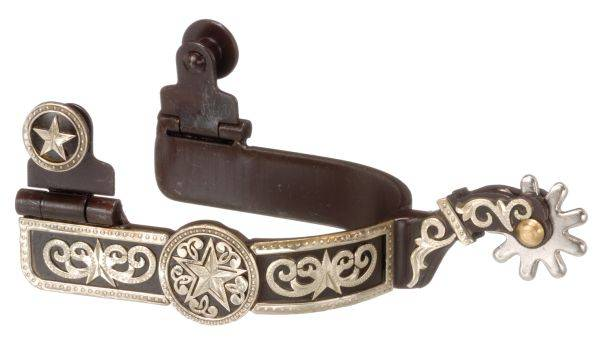 Kelly Silver Star Antique Brown Spurs with Engraved Star Overlay