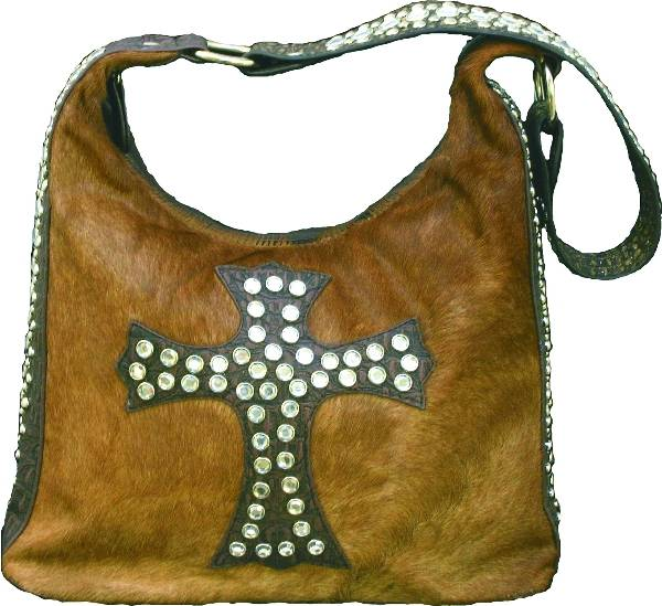 Hair on Leather' Purse with Cross