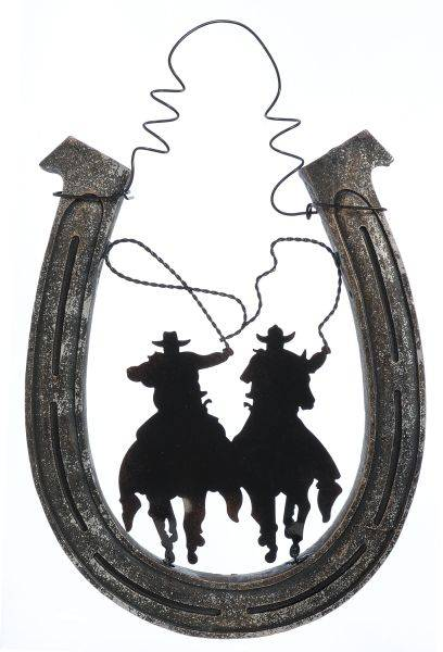 Gift Corral Cowboys with Lassos Hanging Horseshoe
