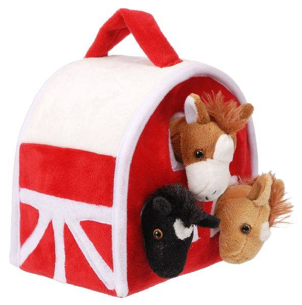 Gift Corral Plush Barn with 3 Plush Horses
