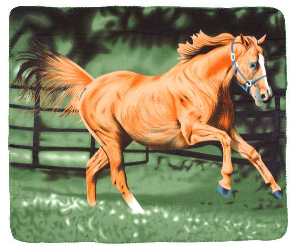 Gift Corral Polar Fleece Running Horse Blanket