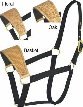 Abetta Nylon Halter with Oak Leaf-Tooled Leather Noseband