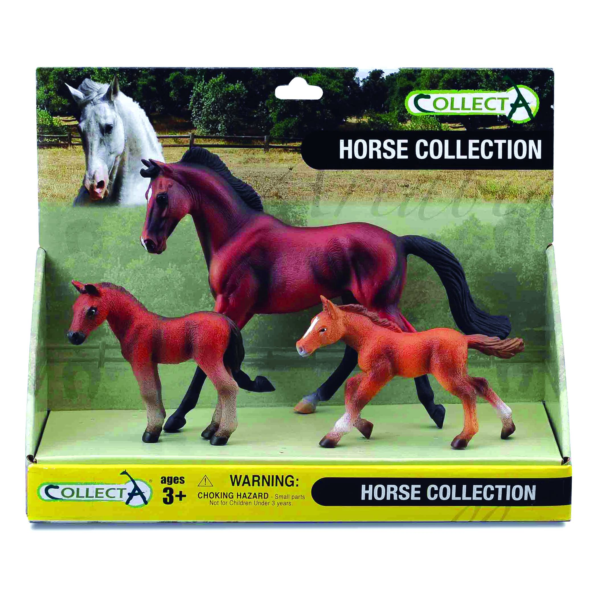 CollectA Bay Mare, Bay Foal & Chestnut Foal Box Set