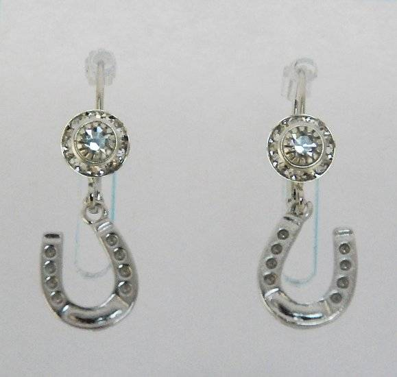 Finishing Touch Rondelle Earrings with Horseshoe Charm - Euro Wire - Crystal