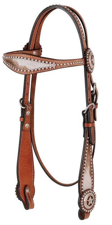 Direct Equine Hair On Hide Headstall Scalloped Browband