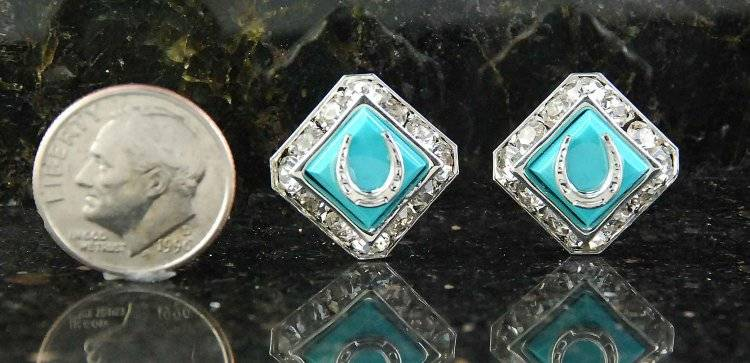 Finishing Touch Square Rondelle with Swarovski Crystal Mini Horseshoe Earrings - Imitation Turquoise