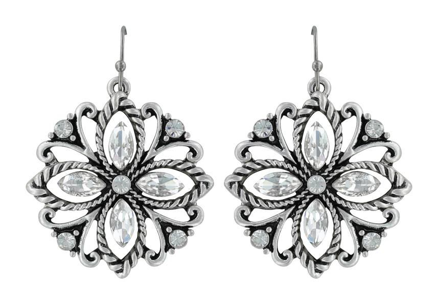 Montana Silversmiths Rock 47 Vintage Kitsch Sparkling Flower Earrings