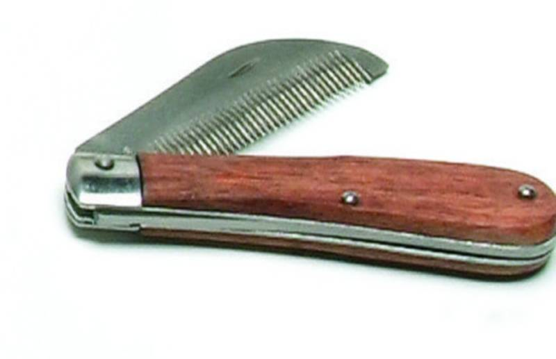 Folding Stripping Comb Wood Handle
