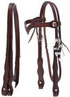 Royal King Basketweave V Brow Headstall with Reins