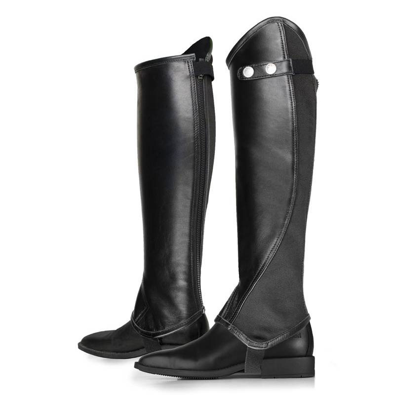 HorZe Calf Leather Chaps With Wide Elastic At