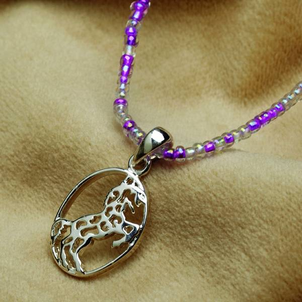 Rearing Horse Pendant with Beaded Necklace