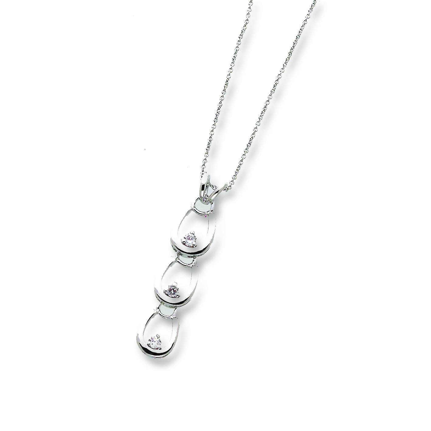 Three Horseshoes with Clear Rhinestones Necklace