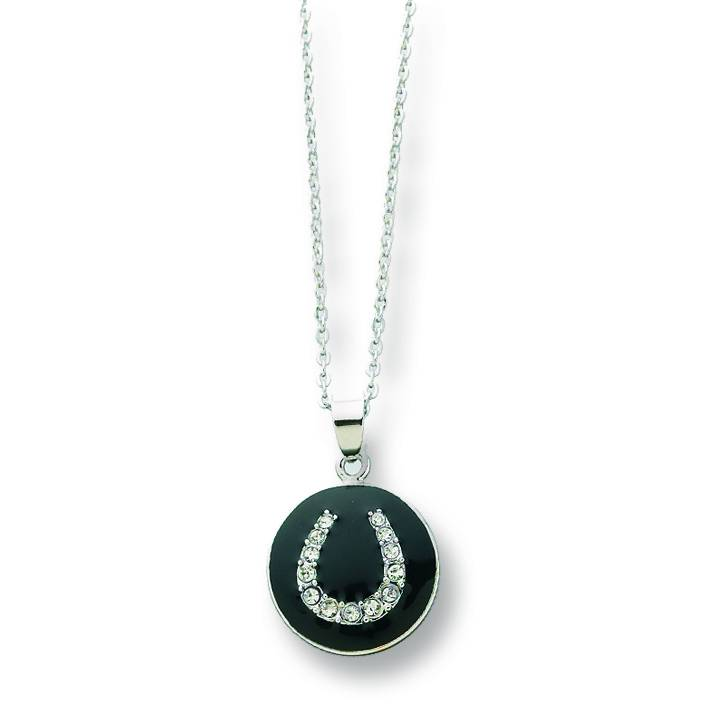 Horse Shoe Pendant Necklace with CZ