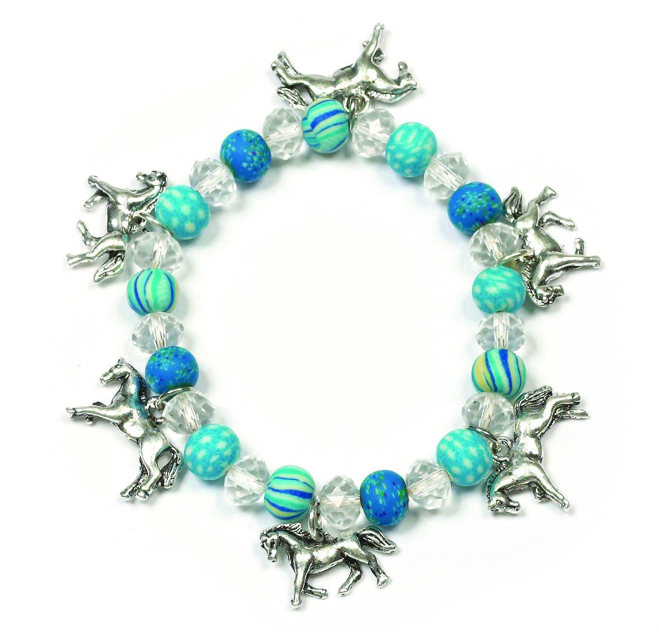 Colored Bead Stretch Bracelet with Charms