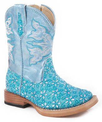 Roper Infant Faux Leather Floral Glitter Boots - Green