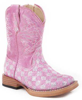Roper Infant Faux Leather Checkerboard Glitter Boots - Pink
