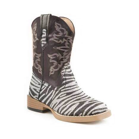 Roper Infant Faux Leather Square Toe Print Boots