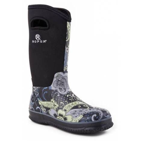 Roper Ladies Neoprene Barn Boots - Black Paisley