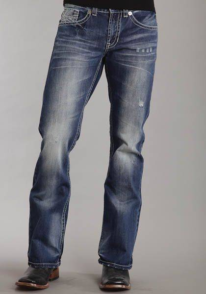 Stetson Mens Modern Fit Jeans - Dark Navy Wash