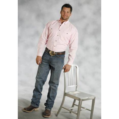 Roper Mens Poplin Long Sleeve Button Down Shirt - Pink