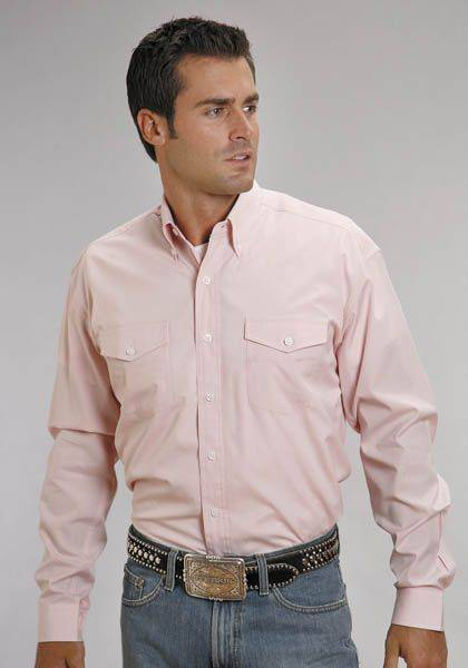 Stetson Mens Button Down Long Sleeve Shirt - Pink