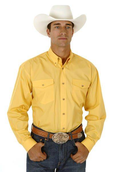 Roper Mens Poplin Long Sleeve Shirt - Yellow