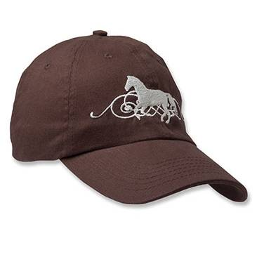 Kelley Galloping Hat w Scroll in Background Dark Brown Cap