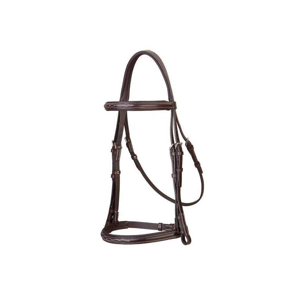 Stubben Fancy Stitched Snaffle Bridle with Padded Browband and Caveson